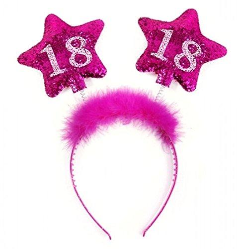 PartyDeco Haarreif zum 18. Geburtstag mit bunter Federboa und Sternen für Mädchen, Modell:Op18-Karton (Party-ideen Geburtstag Coole)