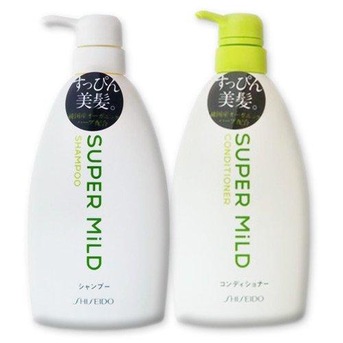 Shiseido Super Mild Hair Care Set: Shampoo & Conditioner - 2 x 600ml Pump Bottles by SUPER MILD