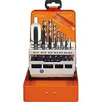 Projahn 91013 Einschnitt Gewindebohrer Satz 15-tlg. , Gewindebohrer für Maschinen- und Handgebrauch, Kernlochbohrer und Windeisen , HSS-G , in sieben Größen in Metall-Kassette (M3 - M12)