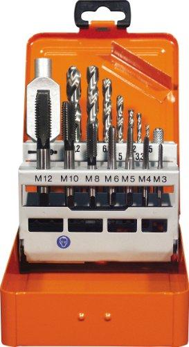 feingewinde schneidsatz Projahn 91013 Einschnitt Gewindebohrer Satz 15-tlg. , Gewindebohrer für Maschinen- und Handgebrauch, Kernlochbohrer und Windeisen , HSS-G , in sieben Größen in Metall-Kassette (M3 - M12)