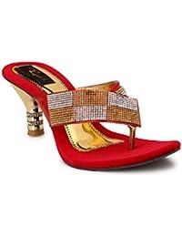 Rimezs Red Slip On / Embellish / Party / Ethnic / Comfortable / Stylish / Daily / Light Weight / Heels / Velvet / Sandal Footwear for Girls and Women