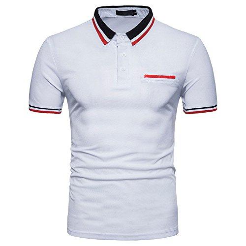 MNRIUOCII Herren Poloshirts Kurzarm Slim Fit Sommer T-Shirt Men\'s Polo Shirts Stretch Kurzarm Polohemd Polo Shirts Basic T-Shirt MäNner Sport Tank Tops Hemden Sweatshirt (B-weiß, 2XL)