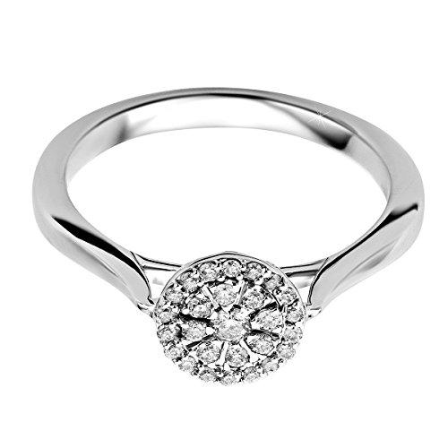 Orovi Damen Verlobungsring Gold Solitärring Diamantring 9 Karat (375) Brillianten 0.188crt Weißgold Ring mit Diamanten 0.188