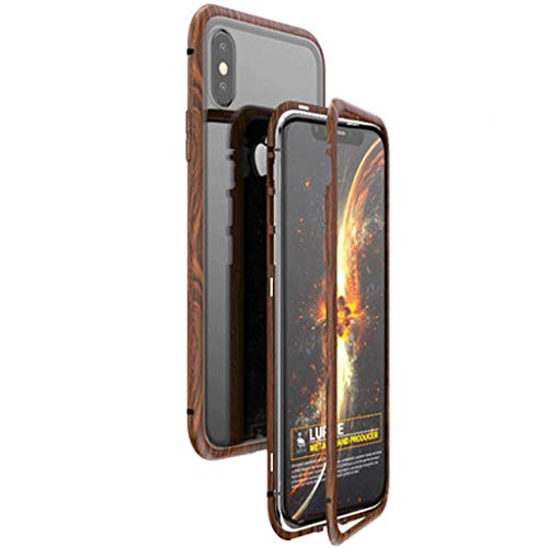 Jlzs cover in plastica anti-aderente con inserti magnetici in vetro temperato trasparente (colore : iphone x wood grain border)