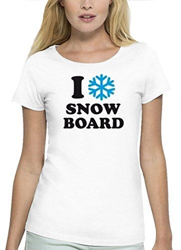 Wintersport Premium Damen T-Shirt aus Bio Baumwolle I LOVE SNOWBOARD Stanley Stella White