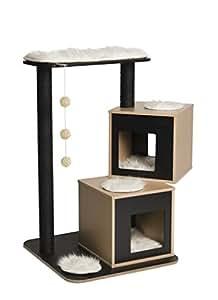 Vesper Katzenmöbel Double black - zwei Kubus-Höhlen mit einer Plattform