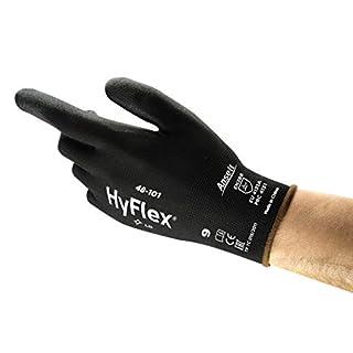 Ansell HyFlex 48-101  Gants de travail en Nylon, Gant de Protection Mécanique à Usages Multiples, Résistance à l'Abrasion, Noirs Taille 9 (12 paires)