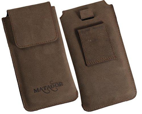 Matador Apple iPhone 8 Ledertasche Vintage Antik Handytasche Leder Hülle Case Tabacco Braun Breite Gürtelschlaufe mit Ausziehfunktion Tabacco Braun