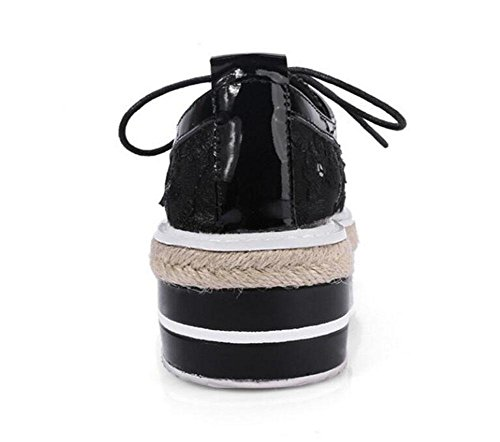 GLTER Donne Lace-Up Flats sandali di cuoio maglia singoli pattini scarpe piane Heels media dei pattini casuali del fannullone Flats giallo nero Black
