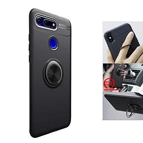 DAYNEW für Huawei Honor View 20 Hülle,Ultra Dünn Abnehmbare Hybrid Dual Layer Defender Case,hybrid Metallring mit Klappständer,für Huawei Honor View 20-Schwarz