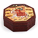 Exclusive Wooden Hand-Painted 4 Section Hexagonal Traditional Indian Painting Serving Box Tray Dry-Fruits Box   Multi-Purpose Utility Boxes