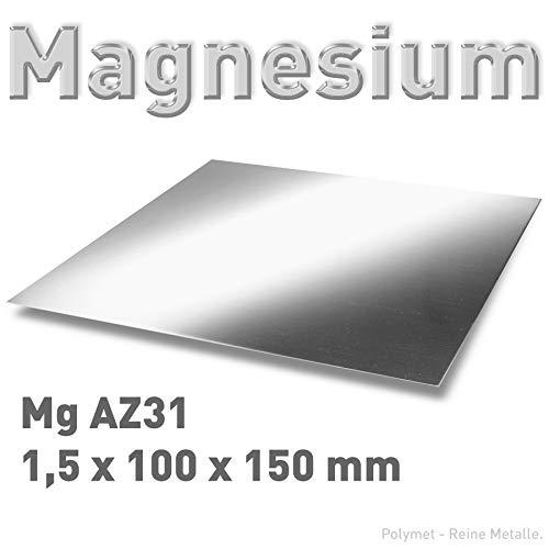Magnesium-Blech 1,5 x 100 x 150 mm, Magnesiumplatte, Anode/Elektrode (10 x 15 cm), Plattenelektrode