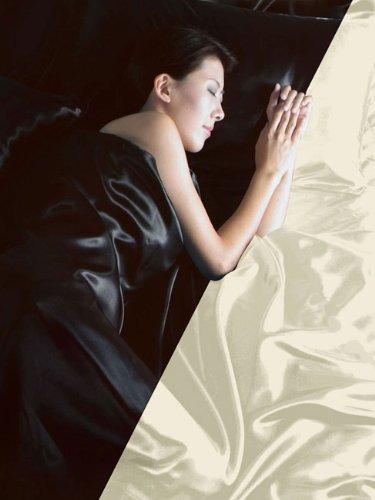 Original Intimates Luxus Satin 6 teilig Wende-Bettwäsche 200x200 Schwarz/Creme Bettgarnitur NEU OVP