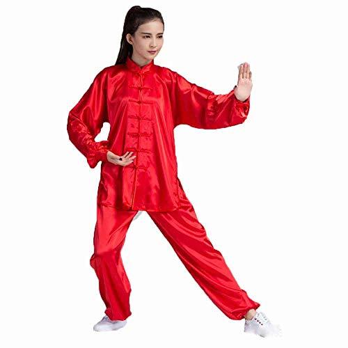 llh Unisex Tai Chi Praxis Kleidung Leinen Lange Ärme Baumwolle Flachs Kampfkunst Praxis Kleidung Lose Wing Chun Kung Fu Hose Tang-Klage Nationale Kostüme,Red-XL (Red Wings Kostüm)