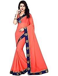 Shree Shiv Shakti Creation Georgette Saree With Blouse Piece(Sarees For Women (s1044)_Red_Free Size)