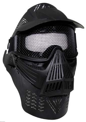 Gotcha Softair Paintball Maske Helm Vollschutzmaske schwarz