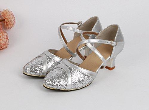 Miyoopark ,  Mädchen Tanzschuhe Silver-6cm Heel