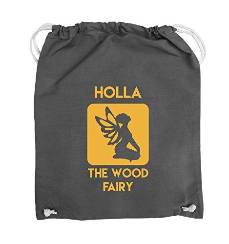 Comedy Bags - HOLLA THE WOOD FAIRY - Turnbeutel - 37x46cm - Farbe: Schwarz / Silber Dunkelgrau / Gelb