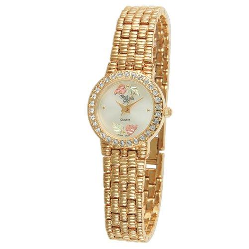 Damas Coleman (Damen Black Hills Gold Damen Armbanduhr Mit Korb Weave Armband Band W/Extender Schließe, Strass, & 12K gold Blätter)