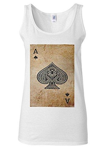 Game Card Ace Vintage Retro White Women Vest Tank Top *Noir