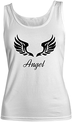 Angel Wings Heaven Damen Tank Top Ärmellos Muskelshirt Weiß X-Large (Angel Wings Tank)
