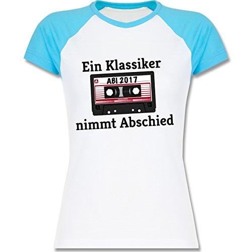Abi & Abschluss - Abi 2017 Ein Klassiker nimmt Abschied - zweifarbiges Baseballshirt / Raglan T-Shirt für Damen Weiß/Türkis