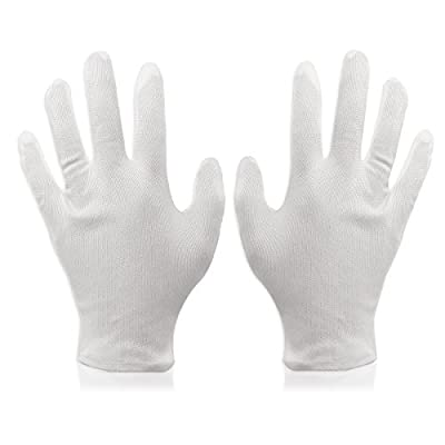 Foxnovo® 8 pairs Soft Cotton Protective Glove Film Handling Glove Working Glove Dry Skin Moisturising Cream White