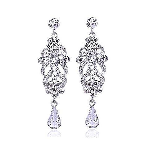 Teardrop Crystal Wedding Long Earrings Silver Plated Elegant Bridal Wedding
