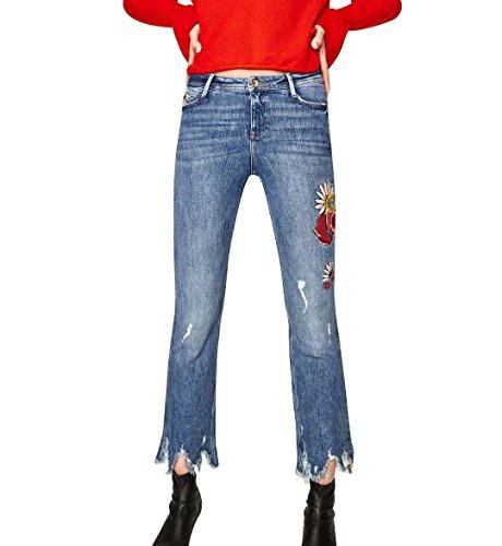 Mena UK Frauen Blume bestickt Machen Sie alte Jeans Denim Hosen schlank neun Punkte Jeans weiblich ( Farbe : Dunkelblau , größe : 40 (Jahre 70er Bell Bottoms)