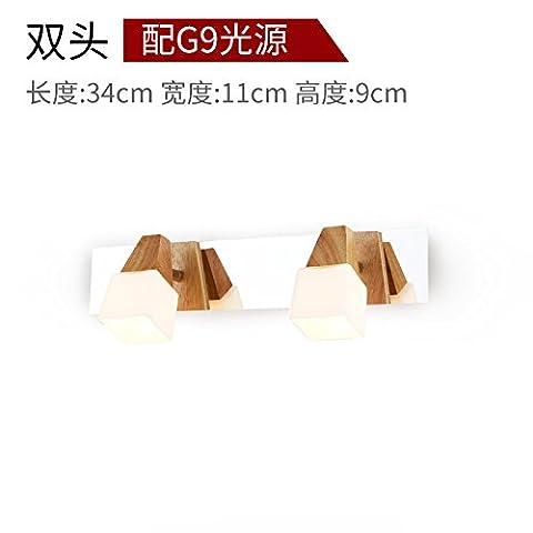 SJUN-Simple Modern Solid Wood Mirror Lights Led Bathroom Wall Bathroom Waterproof Fog Light Lamp,A