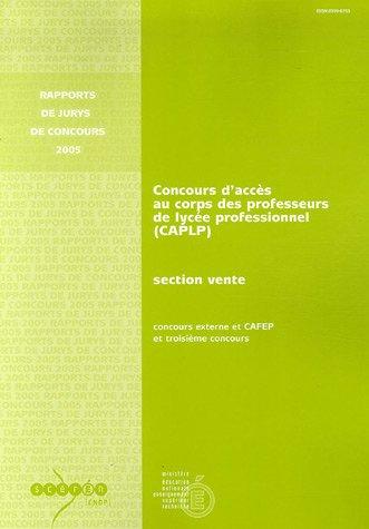 Concours d'accès au corps des professeurs de lycée professionnel (CAPLP) section vente : Concours externe, CAFEP et troisième concours