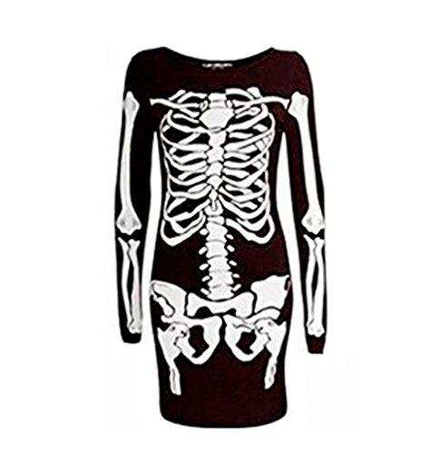 Damen Kleid, enganliegend, Halloween, Skelett-Aufdruck, M (40-42), figurbetont (Kleid Halloween Skelett)