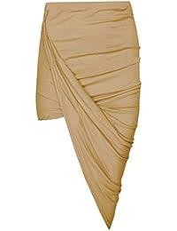 Janisramone Women Cut Out Ruched Jersey Side Split Drape Long Midi Mini Skirt Maxi