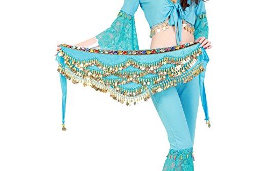 Bauchtanz Kostüm Strass - Tofern Hüfttuch Gürtel Münztuch für Belly Dance mit Klang 300 Münzen bunter Strass, Eisblau