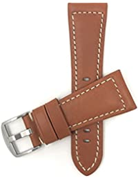 Bandini 30mm Bracelet de Montre en Cuir Italien pour Hommes - Brun-Roux - Couture Blanche - Motif du Buffle