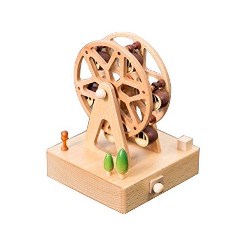 TOYMYTOY Hölzerne Spieluhr, dekorative handgemachte Miniatur Spieluhr, Neuheit Handwerk Geschenke für Baby, Kinder, nicht giftig (Square Base Riesenrad)