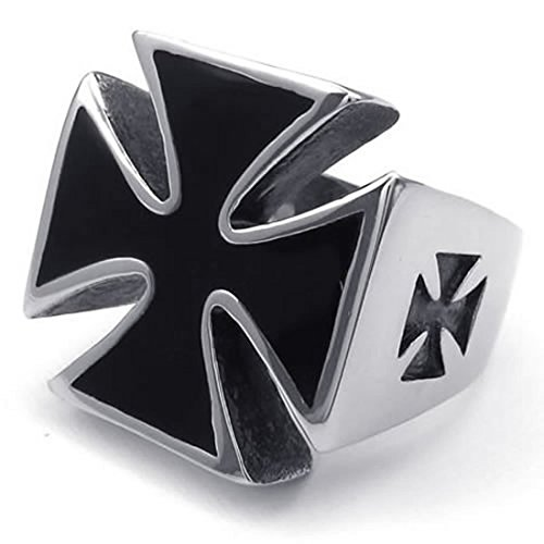 Anillo de cruz de hombres - SODIAL(R) anillo de joyeria para hombre motorista, de acero inoxidable, cruz, negro + plata 10