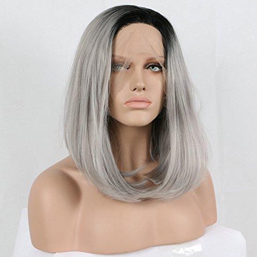 racines foncées ombré Gris Bob Perruques synthétiques Lace Front Perruque résistant à la chaleur Fibre Cheveux