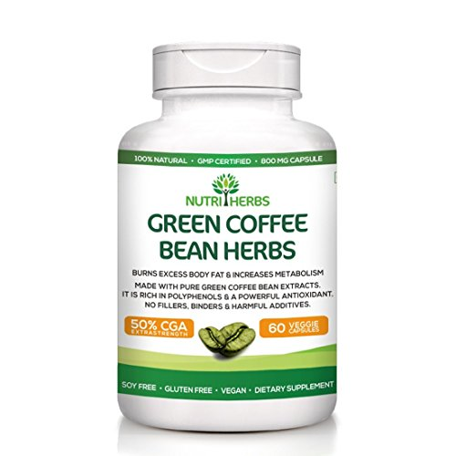 Nutriherbs Pure Green Coffee Bean Extract 50% GCA 800MG 60 Capsules 100% Natural & Weight loss supplement Free 10 days Customized Diet Plan (Pack of 3)  available at amazon for Rs.3499