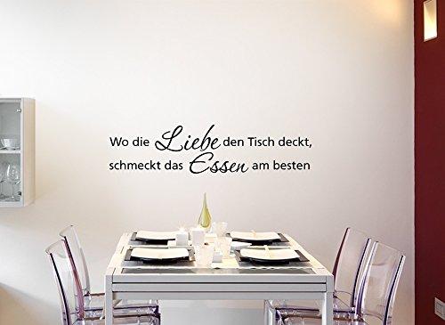 Grandora W728 Wandtattoo Zitat Wo die Liebe den Tisch deckt... schwarz (BxH) 100 x 24 cm