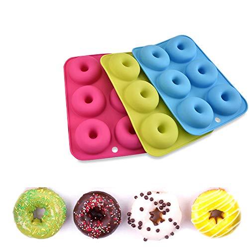 Pingxia 3 Stück Donutform mit 6 Mulden, Silikon Donut Backblech für Kuchen Keks Bagels Muffins - Blau, Rosa, Grün