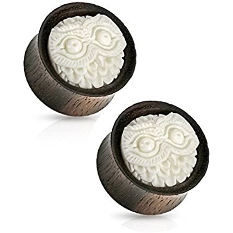 White Carved Owl Double Flared Ear Plug (19 mm, 3/4 Inch) - 2 Piece by Ear Plug
