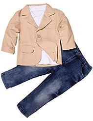 Yogogo 3pcs Vêtements Ensemble - Baby Boy - Enfants Tenues - Manteau Gentleman + Shirt + Jeans Pantalons