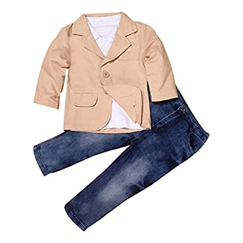 Yogogo 3pcs Vêtements Ensemble - Baby Boy - Enfants Tenues - Manteau Gentleman + Shirt + Jeans Pantalons