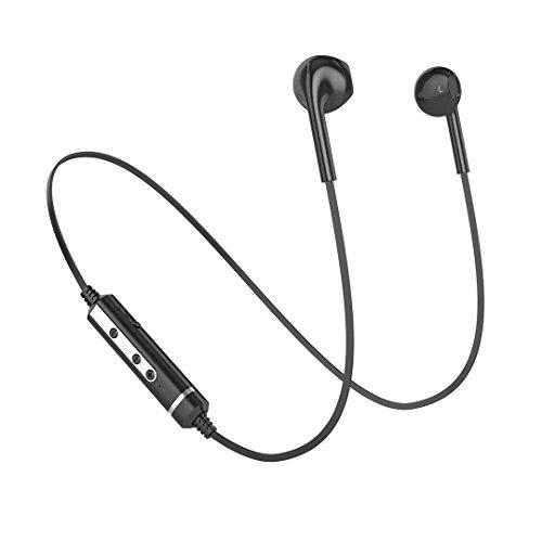 Cuffie Bluetooth 4.1 Wireless Stereo,Headset Antirumore con Microfono Incorporato per iPhone 7/6s/6/5s/5 Samsung Galaxy/Note Huawei e Android Smartphone (Nero)