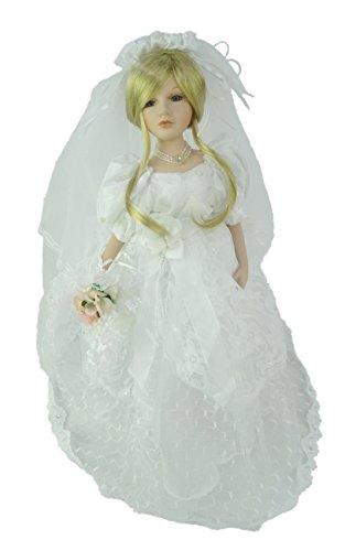 Muñeca de porcelana de 45cm en vestido de novia - Juguetes de niñas