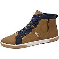 Zapatos de hombre JiaMeng Moda Zapatos Casuales Rejilla con Cremallera Zapatos de tacón Alto para Hombre Zapatos Casuales Hombre con Cordones