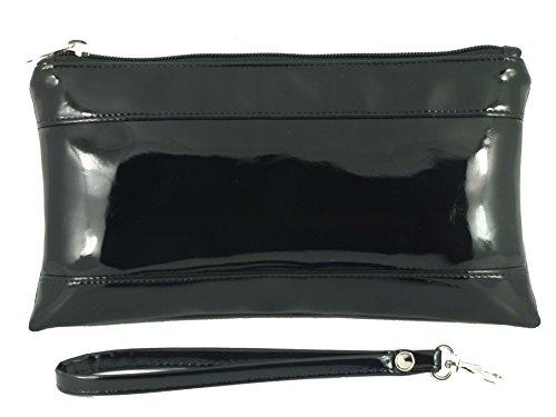 Loni Entzückende KunstLackleder Clutch Tasche Unterarmtasche mit Handgelenkschlaufe in silber Schwarz