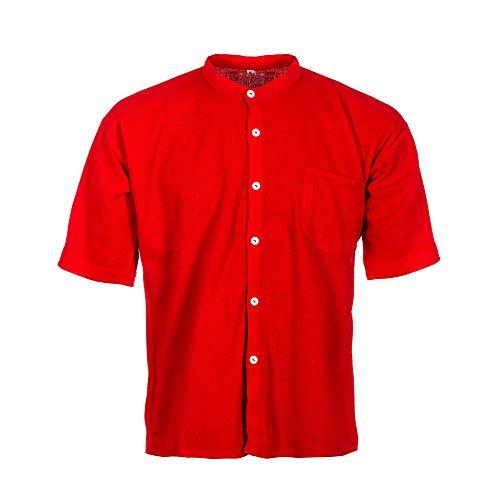Tumia Lac, kurzärmliges Großvaterhemd, 100% Baumwolle, verschiedenen Farben, ethisch gehandelt Gr. XX-Large, rot (Farbige Flanell Plaid)