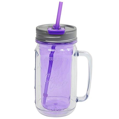 Cool Gear Mason Jar Water Bottle with Handle, 16 oz, Purple